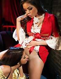 Pirate wenches Evi Fox and Yurizan Beltran go down on each other.