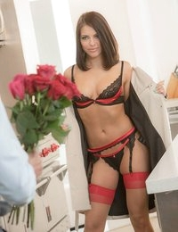 Johnny came home with a dozen roses for Valentine's Day, but his wife Adriana Chechik had her own plans in store for an unforgettable night. The moment Johnny walked in the door, Adriana threw open her robe and showed Johnny the black and red lingerie she'd bought just for the occasion. Adriana wanted to make the occasion special, so after securing Johnny's hands with his tie, she dropped to her knees to give him the sloppiest, rawest blowjob of his life. Adriana deepthroated his whole cock again and again, but Johnny somehow held back from blowing his load in Adriana's mouth. Before slipping his throbbing dick inside her, Johnny licked hungrily at Adriana's wet pussy, then thrust as deep into her it would go. Johnny finished with a creampie deep inside Adriana, before they ran off to the bedroom to see about round two!